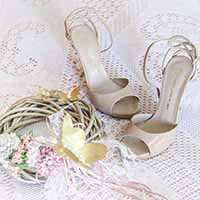 Wedding shoes on lace cloth.